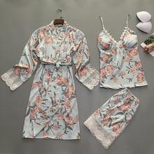 2019 Summer Women Pajamas Sets 3 Pieces With Chest Pads Flower Print Lace Pyjama Satin Sleepwear Silk Nightwear Pijama