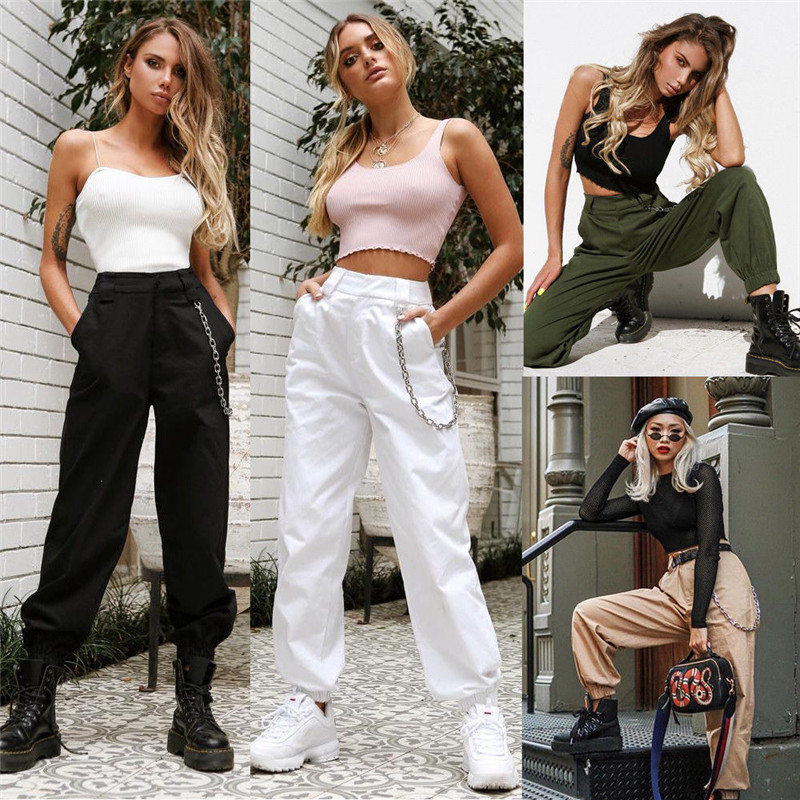 High Waist Women Cargo   Pants   Casual Loose Cool Street Wear Fashion Straight   Wide     Leg     Pants   Trousers Without Chian