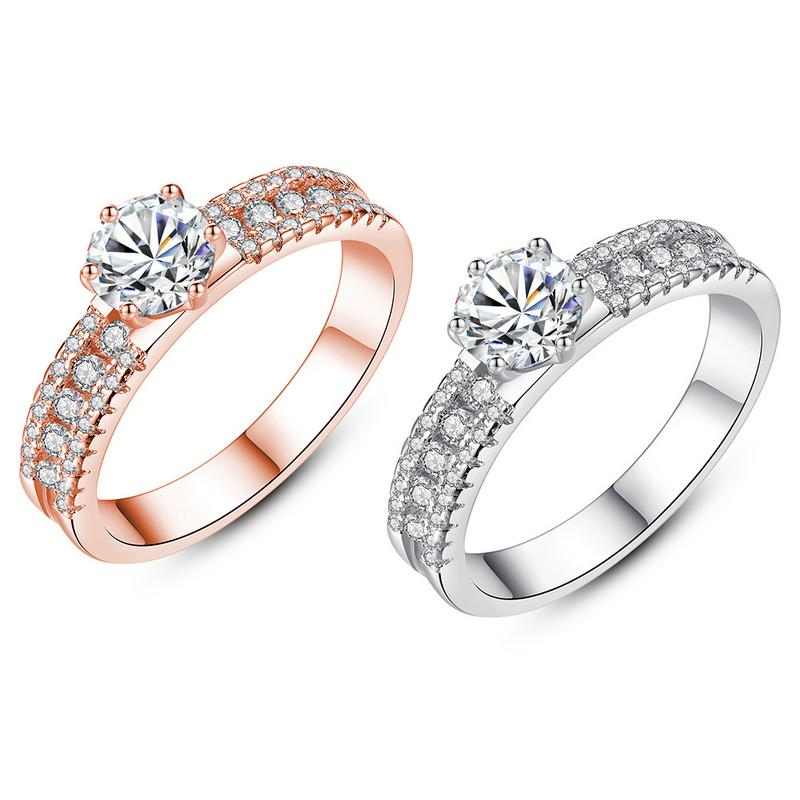 2019 New fashionable Ring Rose Gold Micro-set Zircon Six-claw Ring Simple Micro-inlaid Zircon Couple Ring Gift