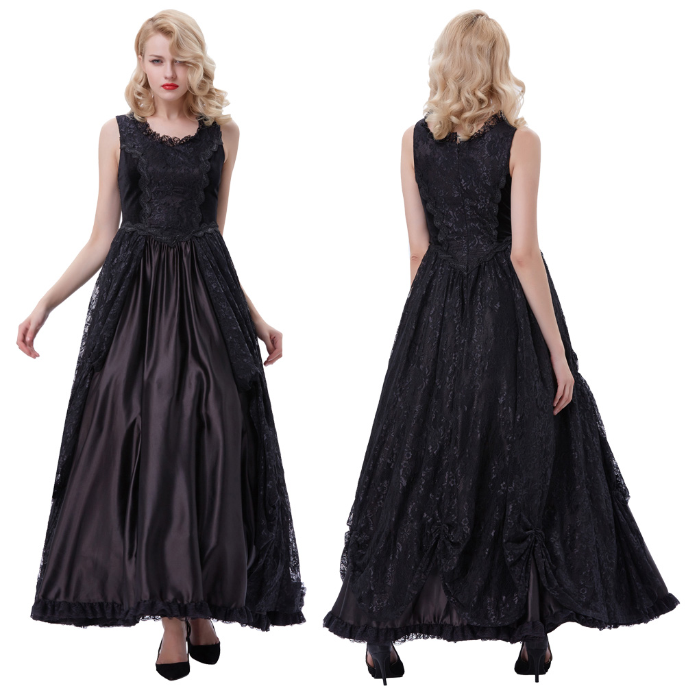 Victorian Edwardian Prom Gown Gothic Theater Steampunk Dress Evening Party