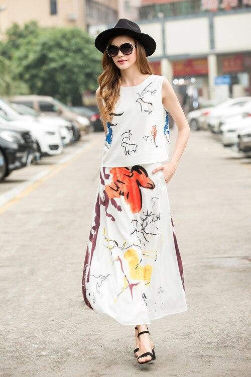 Cheval Imprimer D'été Dames Tops Qualité Imprimé Femmes shirt 2 2018 Jupe Haute T Ensemble Animal Mignon Vintage Pièce Longue Vêtements Costume E4ETUxX