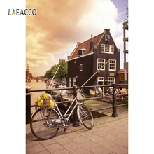 Laeacco Brick Wall Bicycle House Street Backdrop Photography Backgrounds Photocall  Photographic Backdrops For Photo Studio kate photography backdrops brick stairs red flowers backgrounds for photo studio for children backdrop