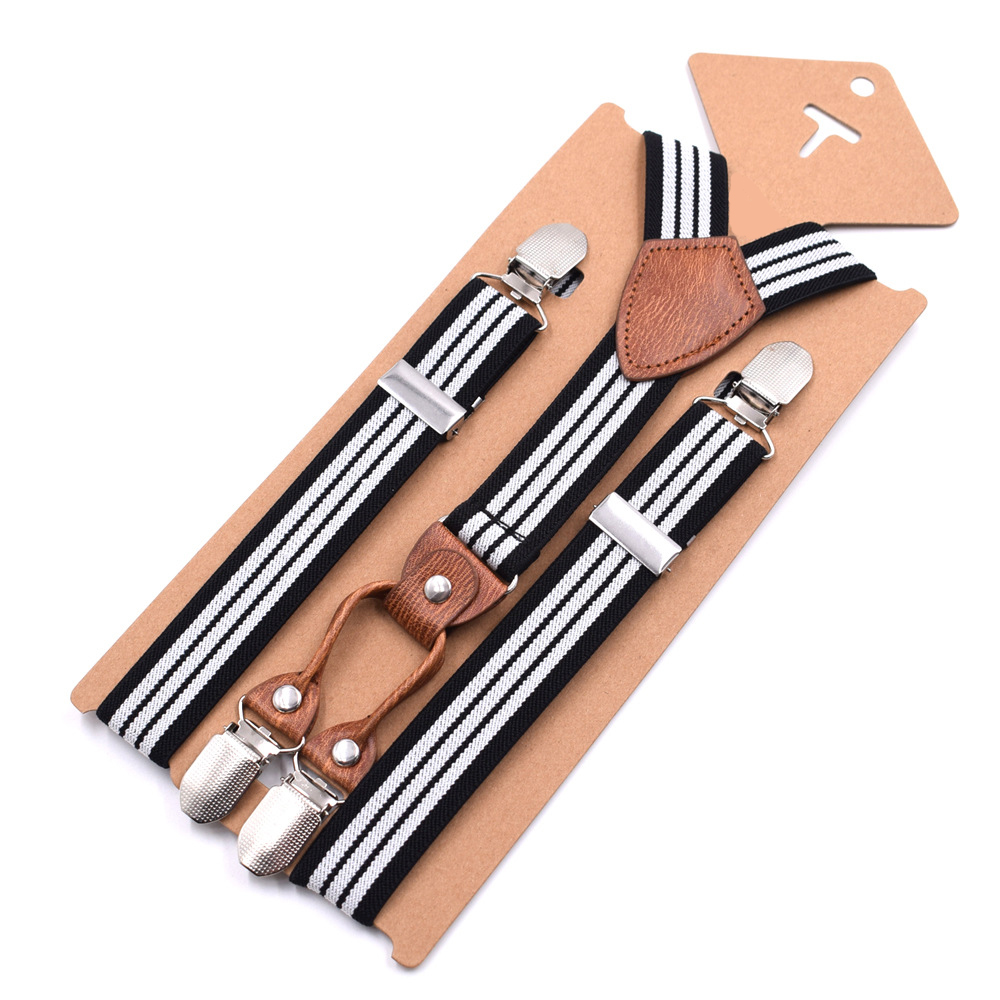 2019 New Brand Straps Children's Striped 4 Clips Y-strap High Quality Boys And Girls Pants Suspenders Adjustable Fashion