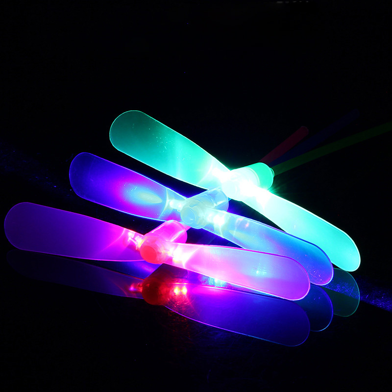 5pcs LED Bamboo Dragonfly Shooting  Flying Parachute Sky UFO Outdoor Luminous Toys For Children Glow In The Dark Toys