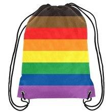 Розовый LGBT мешок на заказ 35*45 см трикотажные полиэфирные матовые индивидуальные спортивные сумки цифровая печать мешок новая акция