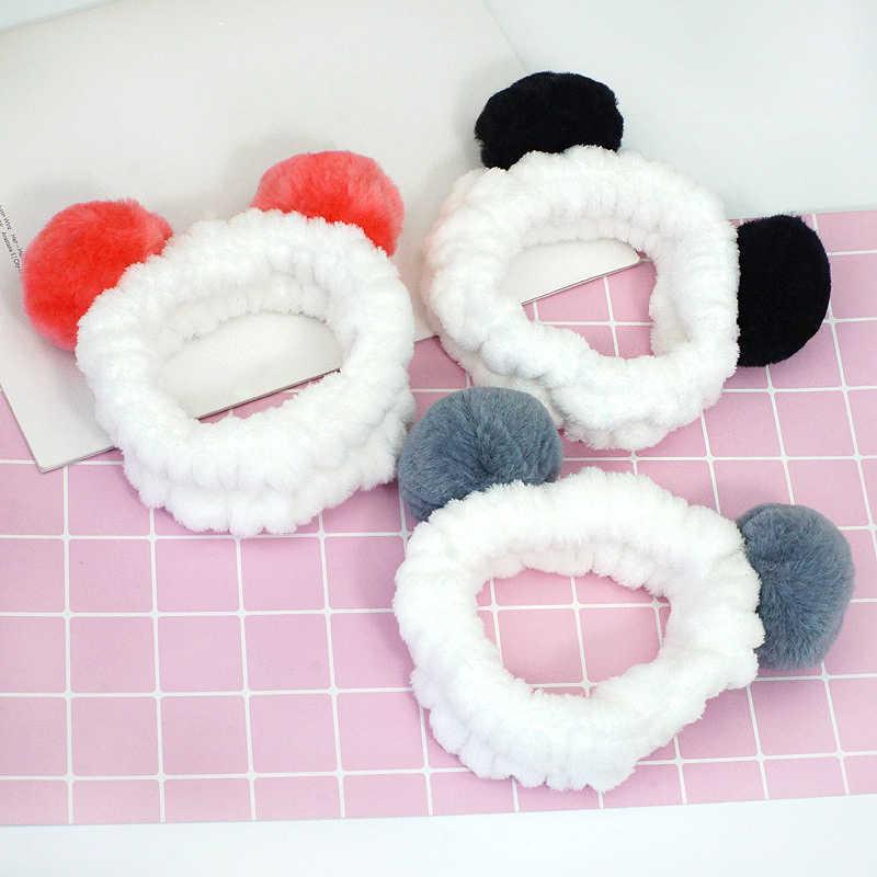 LNRRABC Милая панда ухо Мягкая флисовая женская головная повязка макияж насадка для душа повязка для волос для мытья лица Душ Спа-маска