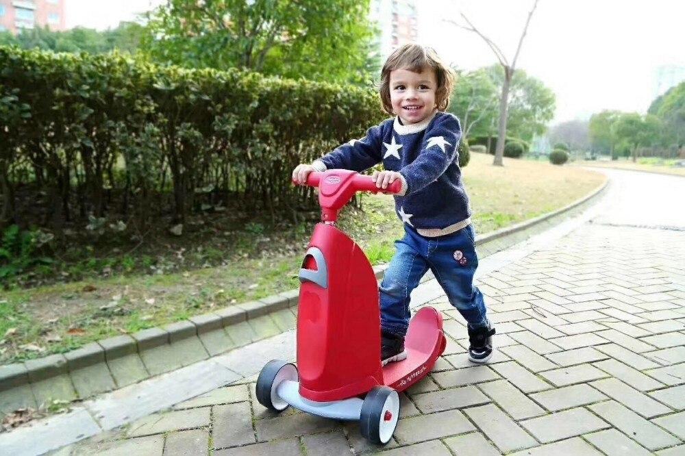 Enfants deux-en-un Scooter et Ride-On jouet bébé Balance vélo Walker Kick Foot Skateboard 3 roues pour 1-5 ans Triciclo - 2