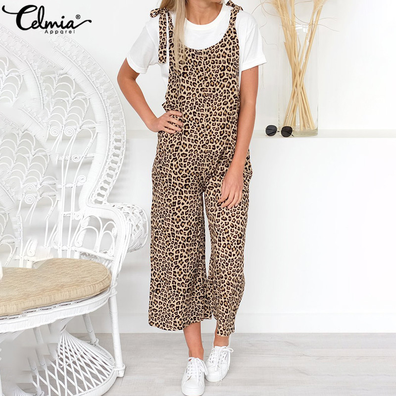 Oversized Rompers Celmia Women Vintage Leopard Printed   Jumpsuits   2019 Summer Female Casual Long Overalls Loose Harem Pants S-5XL