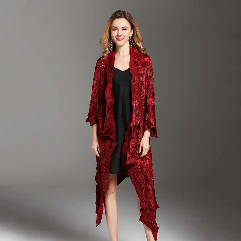 LANMREM/Новинка 2018 года; модное бархатное асимметричное платье; Модный женский темперамент; большой размер; плиссированный плащ; женское платье; Vestido YG036