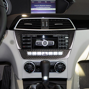 Image 5 - For Mercedes Benz C Class W204 2010 2011 2012 2013 Carbon Fiber Car Center Console Air Condition Panel Frame Cover