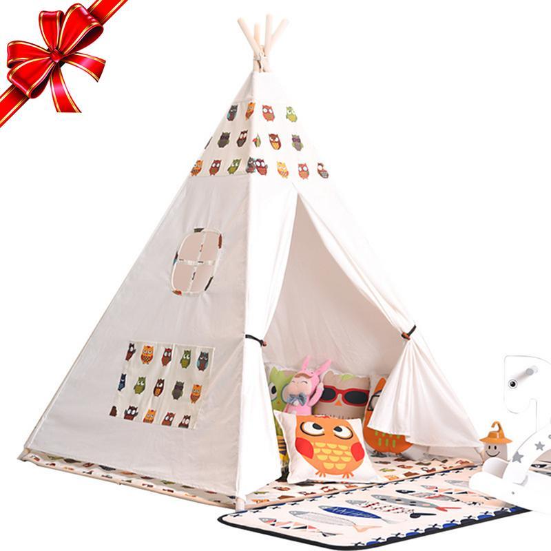 Enfants triangle tentes jeu maison à l'intérieur indien tentes enfants en plein air bébé château maternelle triangle enfants pliant tente cadeau