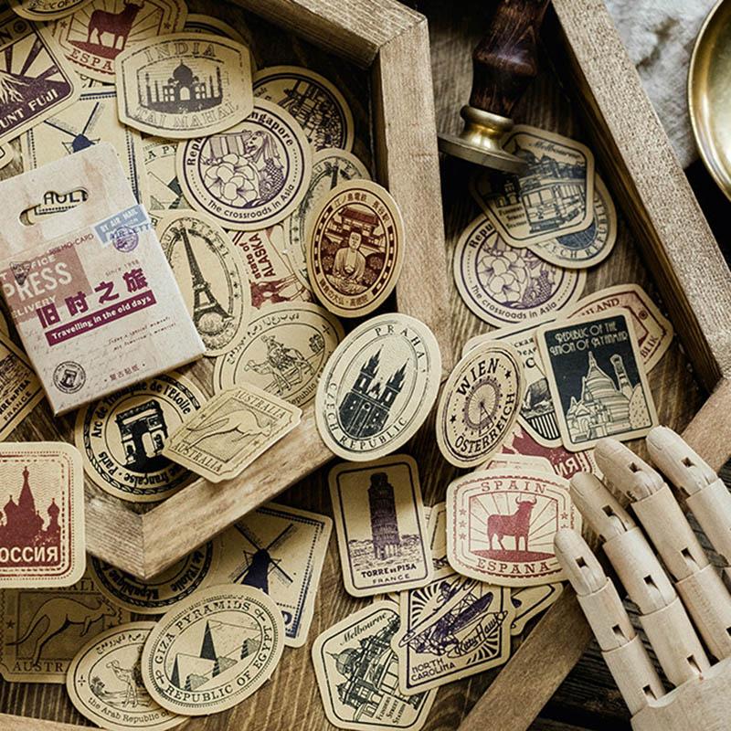 46pcs/box Retro Vintage Travel Stickers Label Sealing Stickers Kraft Decor Adhesive Decorations Scrapbooking Diary DIY For Kids