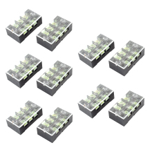 600V 25A Dual Row 3 Position Screw Barrier Terminal Block 10 Pcs