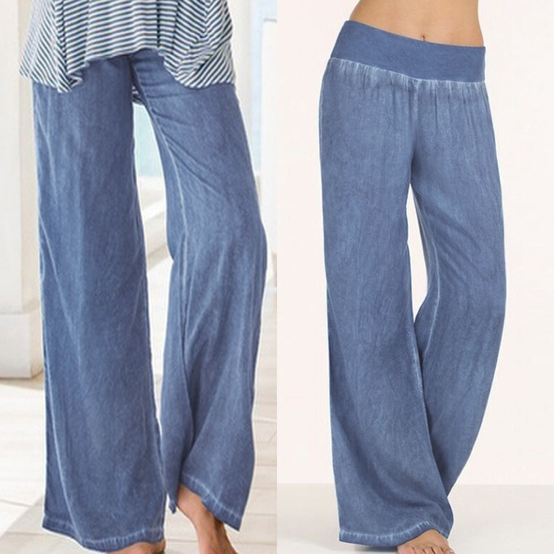 Celmia 2019 Fashion Palazzo Women Elastic Waist   Wide     Leg     Pants   Casual Loose Denim Jeans Long Trousers Plus Size Pantalone Femme