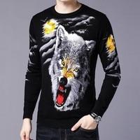 2019 Spring Pullver Erkek Kazak Club Party Stage Clothing Luxury Wolf Head Print Sweater Male Sweater Trui Heren Sueter Hombre