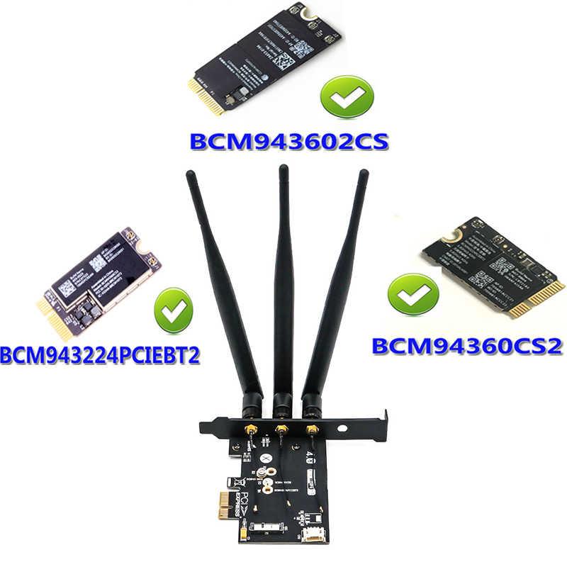 BCM943602CS bcm94360CS2 BCM943224PCIEBT2 Wireless WiFi Bluetooth 4 0 module  Card to PCI E 1X Adapter for Hackintosh apple