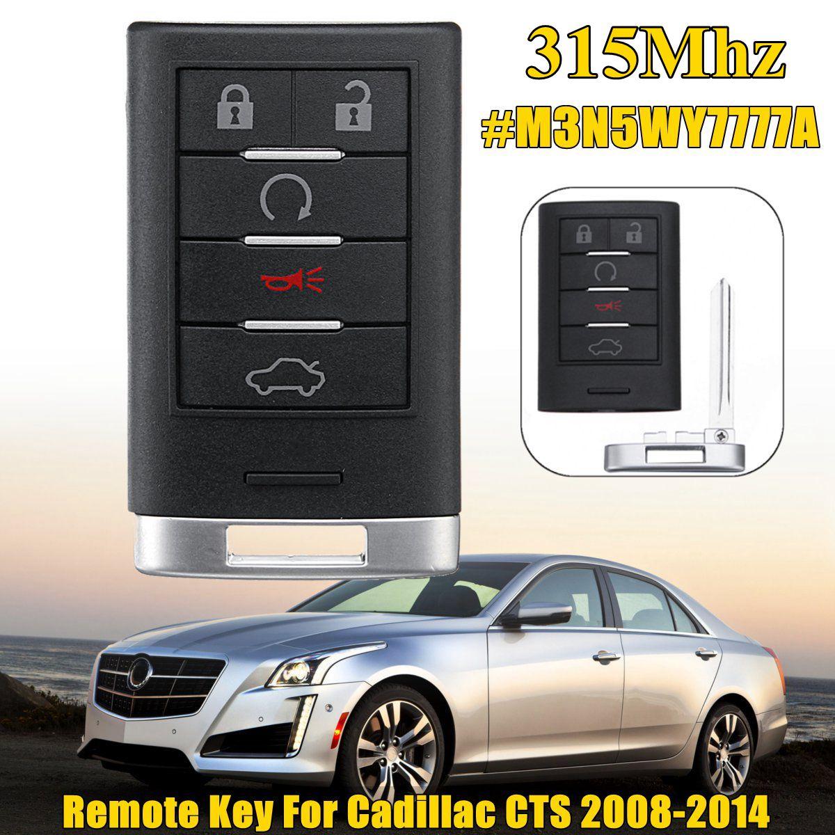 Pour Cadillac CTS 2008-2014 # M3N5WY7777A 5 boutons Fob clé à distance intelligente sans clé entrée de proximité clé intelligente clé à distance
