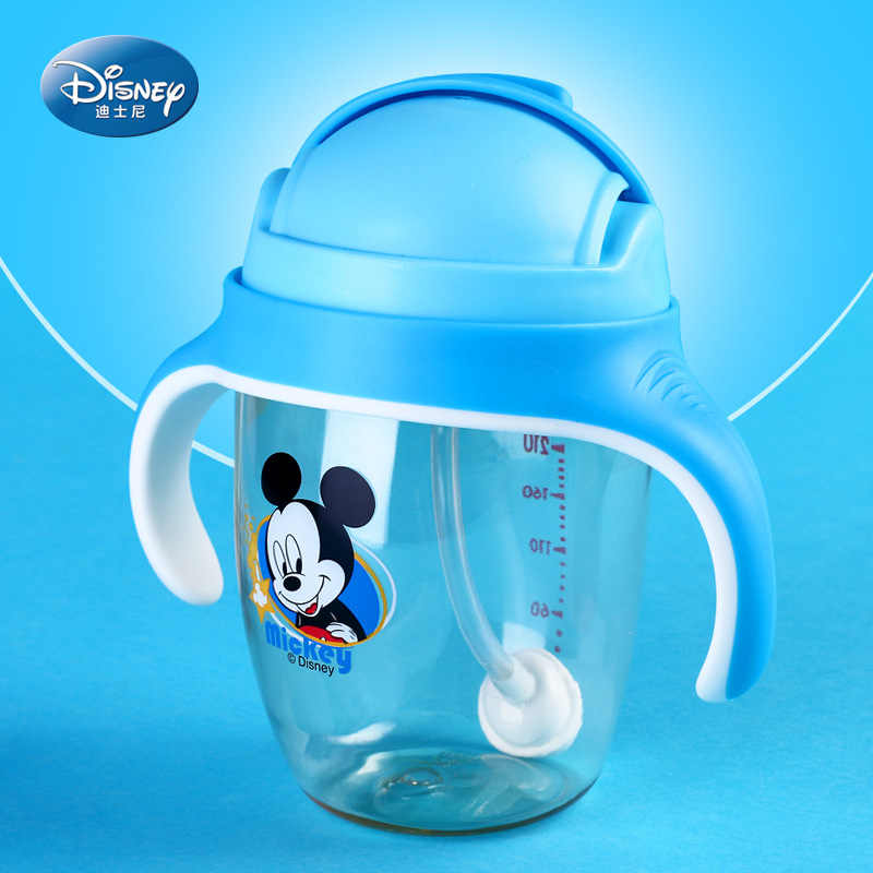 Genuine Sale Disney Cute Baby Feeding Cup with Straw Children Learn Feeding Drinking Bottle with handle Kids Training Cup Gift