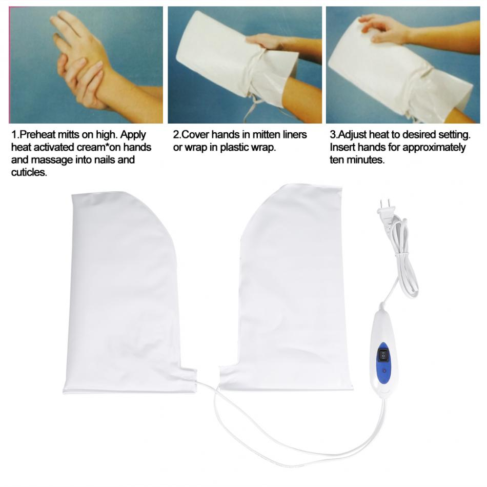 Image 2 - Electric Nail Manicure Gloves Heated Mitts For Paraffin Waxing Therapy SPA Hand Skin Care Heated Wax Mittens Nail Tools US PlugNail Treatments   -
