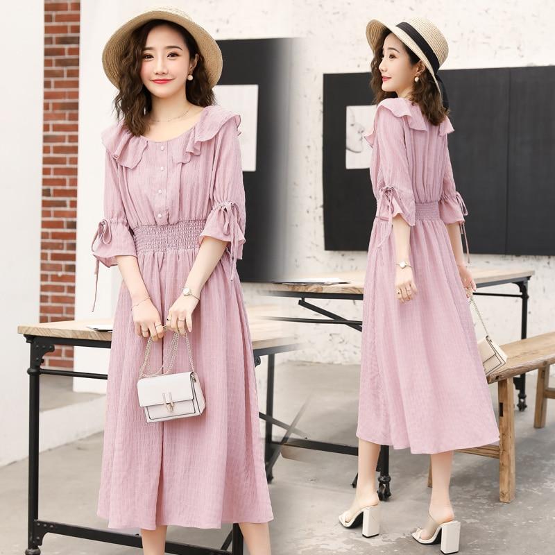 2019 summer pregnant women dress flare half sleeve peter pan collar stretched waist maternity empire dress sweet chiffon dress 12