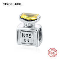 Fit Pandora Bracelets silver 925 Original Perfume bottle beads With Yellow CZ Stone DIY Charms Authentic Jewelry for Women