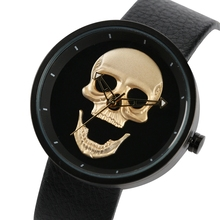 купить Skull Men Watch Top Luxury Brand Quartz Unique Man Military Sports Leather Band Retro Fashion Gold Black Clock reloj para hombre дешево