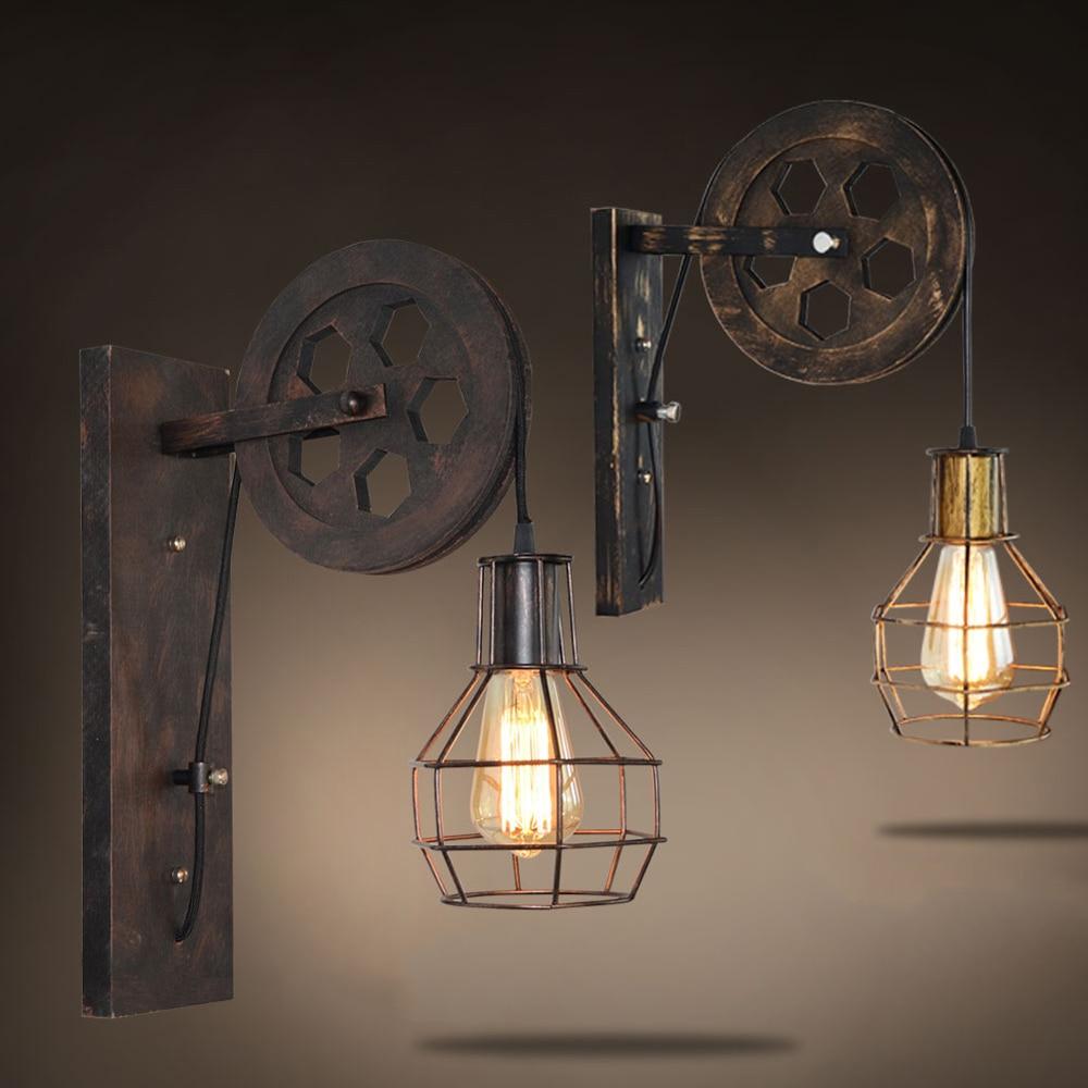European Antiqued Vintage Metal Iron Energy-saving Pendant Lifting Wall Light Pulley Loft Foyer Bed Room Study Room Wall Lamp