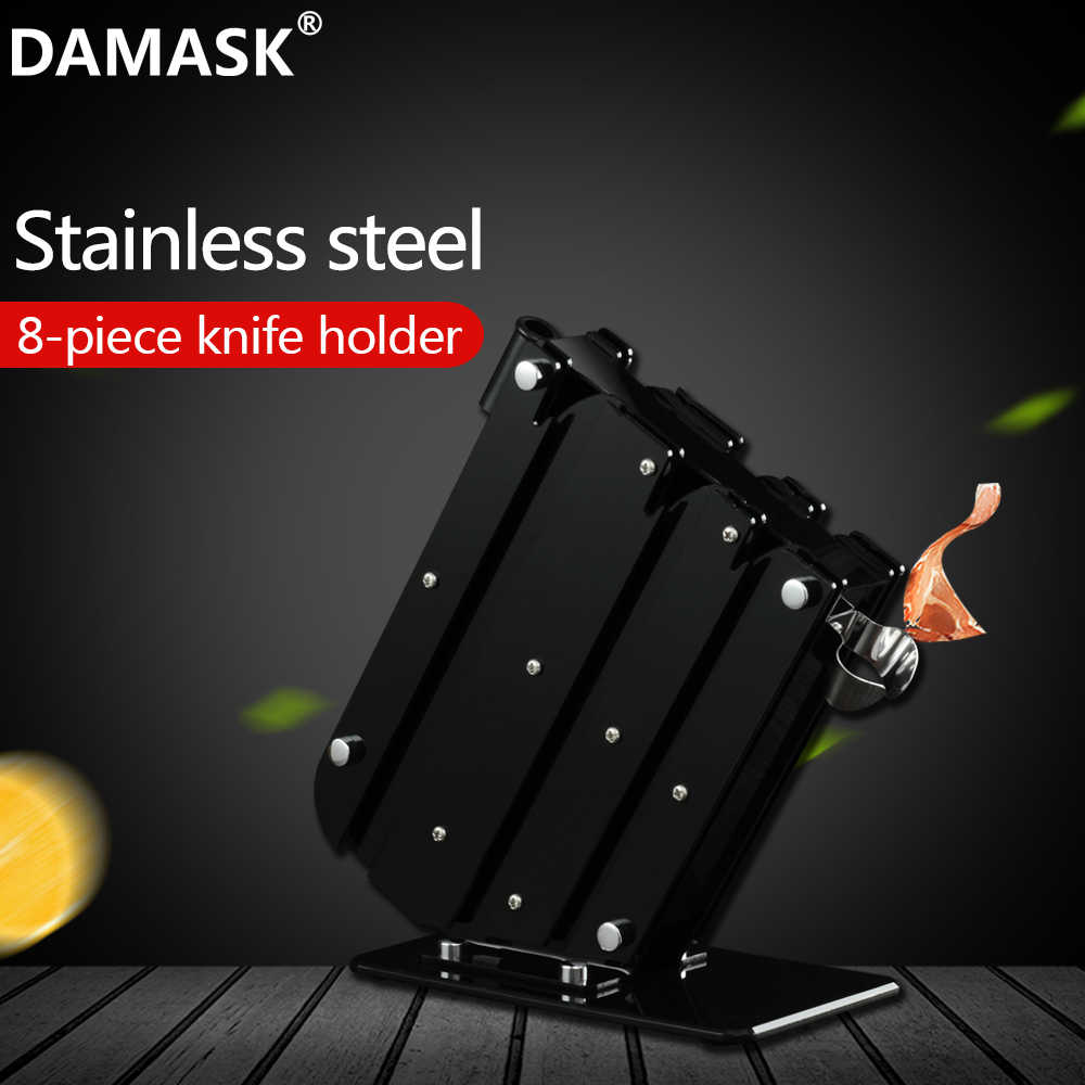 Damask Kitchen Knife Block Holder Knives Stand Multifunctional Acrylic And Stainless Steel Cutlery Knife Holder Block Cook Tools