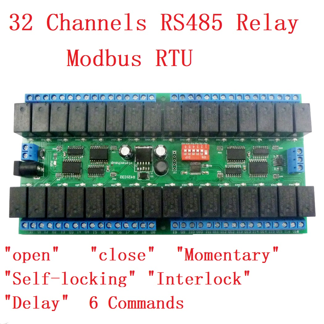 R421C32 DC 12V 32 Channels Modbus RTU RS485 Bus Relay Module UART Serial port Board for PLC LED Home automation door lock