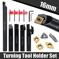 5 uds. Juego de herramientas de soporte de torneado de vástago de 16MM con cuchilla y llave para torno de banco y herramienta de torneado CNC