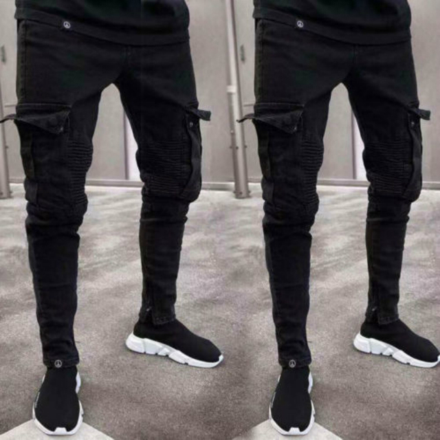 Men's Cargo Pants Cotton Trousers Multi Pocket Military Style Army Camouflage Black urban