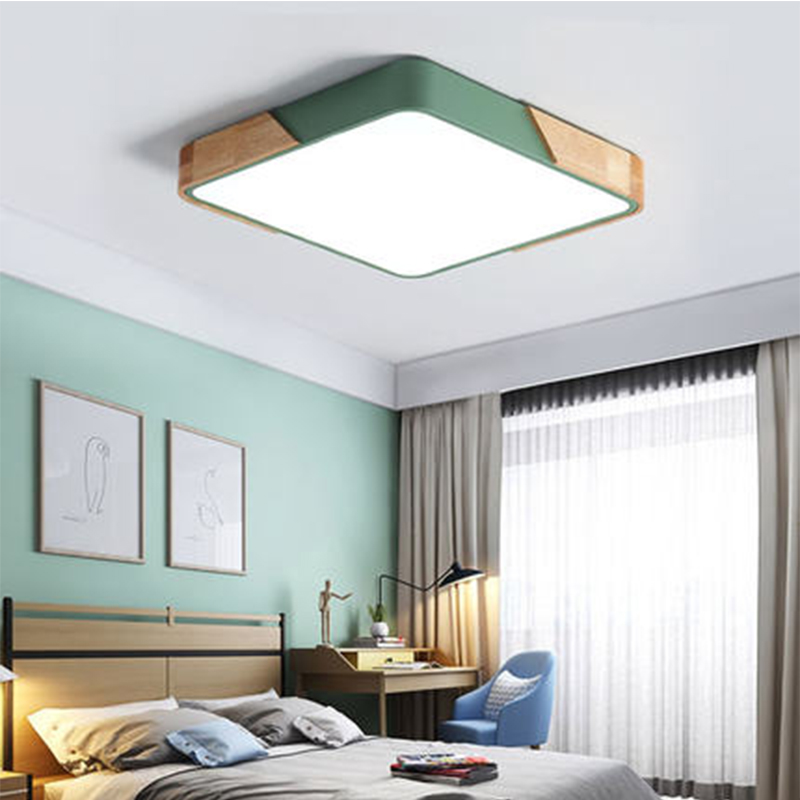 room lamp led ceiling lights with remote control modern house deco nordic wood ceiling lamp square home lighting living room