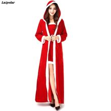 цена на Drop Shipping 3Pcs Deluxe Women Christmas Long Dress Female Sexy Red Santa Claus Cosplay Female Costume Adults Xmas Uniform
