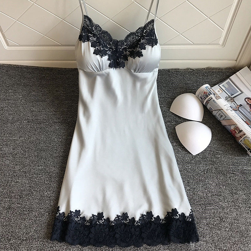 Women Sexy Lingerie Silk Lace Paddad Push-Up Dress Babydoll Nightdress   Nightgown   Sleepwear