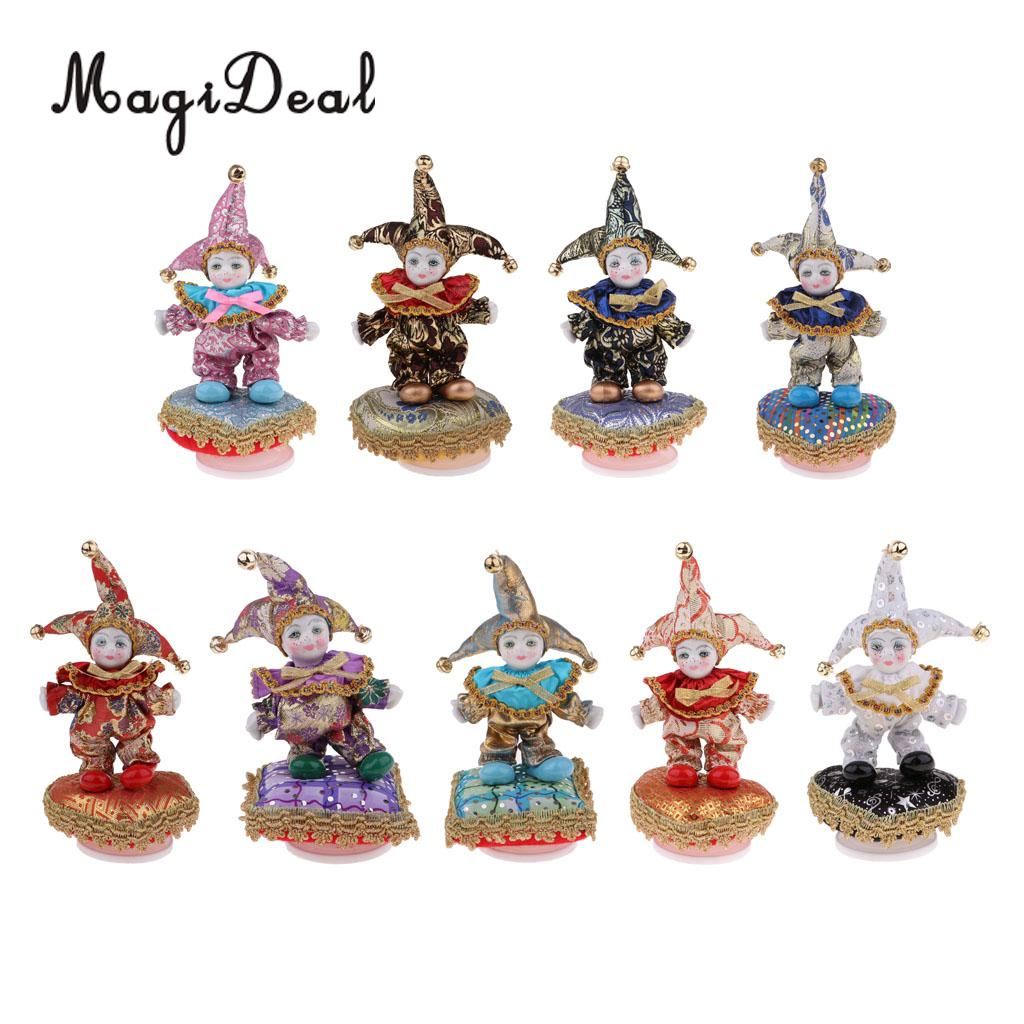 Adorable Kids Angel Model Porcelain Music Triangel Doll Harlequin Clown Doll With Bell Hat For Children Gift Collectibles