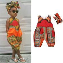2019 Baby Girl summer clothing African Print Jumpsuit romper Playsuit Outfit  for Kid clothes toddler Children newborn infant