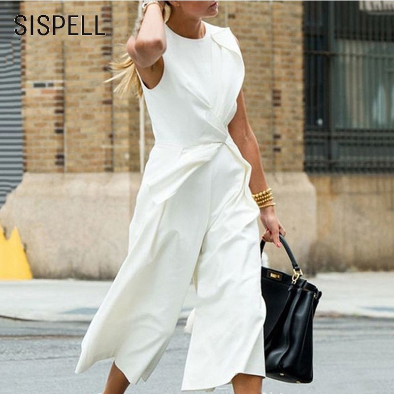 SISPELL 2019 Sleeveless Jumpsuis For Women O Neck Slim Casual Loose Wide Leg Pants Female   Jumpsuit   Fashion Casual Clothes New
