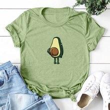 0a47c2f68270cb Moda Plus Size kobiet T-shirt Cartoon awokado wzór druku Funny T-Shirt  kobiety O-Neck krótki rękaw Casual śliczne Tshirt topy