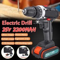 25V Electric Drill High Power Electric Screwdriver Cordless Impact Drills Driver DC Motor 1/2 2x2.2Ah Lithium Battery Household