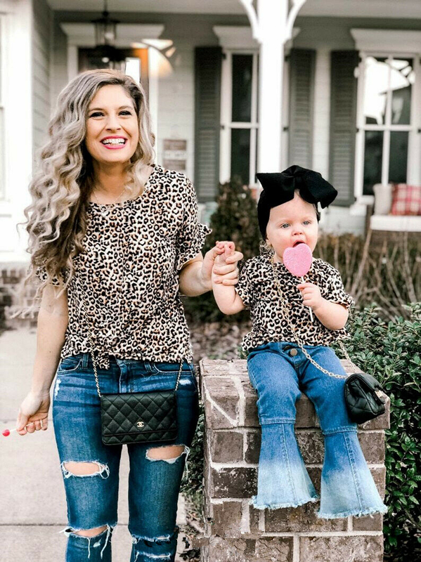 Family Mother Daughter Leopard T-shirt Tops Matching Family Tee Tops Ruffles Sleeve Casual Cute Summer Clothes