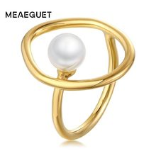 Adjustable Opening Brass with Fake Pearls Unique Women Ring Gift(China)