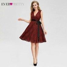 Ever Pretty AS04025 женские модные бордовые А-образные кружевные сексуальные коктейльные платья с v-образным вырезом без рукавов вечерние платья длиной до колен