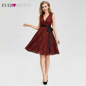 c36b08f80edd1f5 Ever Pretty AS04025 Женская мода бордовый трапециевидной формы кружевные  коктейльные платья Sexy V образным вырезом без рукавов платья для вечеринок  .