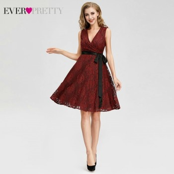 Ever Pretty AS04025 Women Fashion Burgundy A-line Lace Cocktail Dresses Sexy V Neck Sleeveless Party Dresses 2018 Knee Length Cocktail Dresses