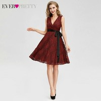 Ever Pretty AS04025 Women Fashion Burgundy A line Lace Cocktail Dresses Sexy V Neck Sleeveless Party Dresses 2018 Knee Length