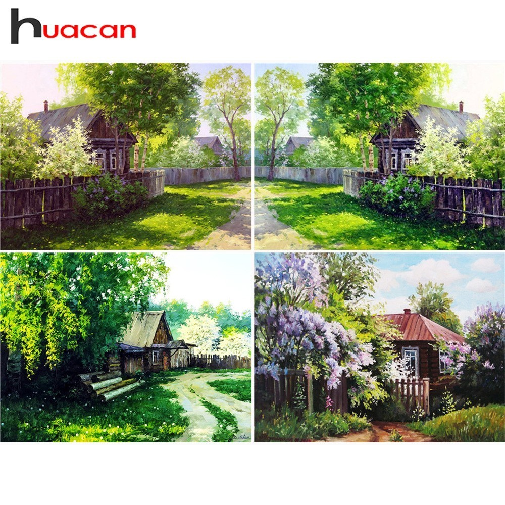 Huacan Landskap Lukisan Berlian Gambar Of Rhinestones Diamond Embroidery Sale Cross Stitch Full Square Crystal Mosaic House