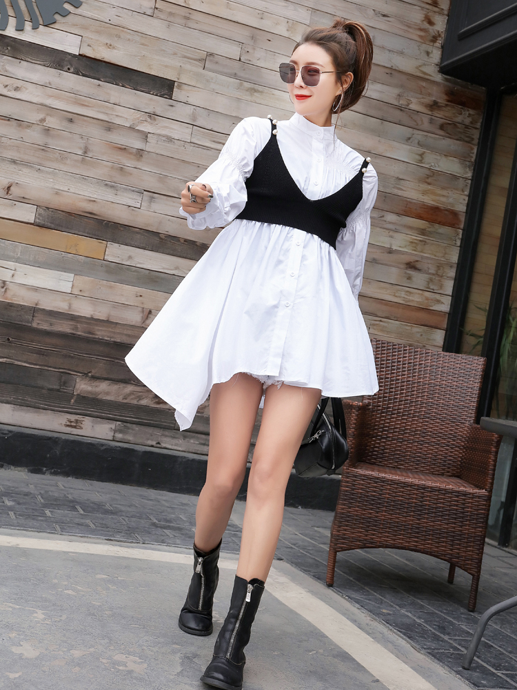 High Blouse Cotton Spring Sleeve Women Button Girls White Qing Womenqf536 Solid Dress Mo Shirt Lantern Waist Up 2019 va7gwRUqx
