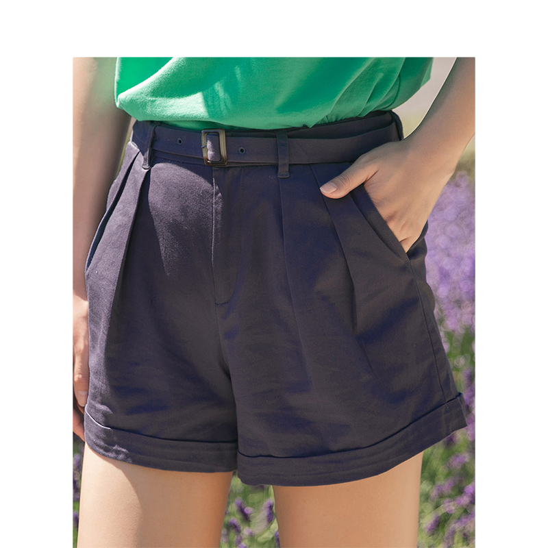 INMAN Summer Solid Minimalism All Matched With Belt Plated Slim Literary Casual Women Short Pants