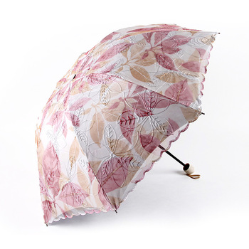 Jiangpanyue Double Vinyl 8K Piece of Maple Leaf Sun Umbrella Embroidered restonic san UV A1917 Umbrellas image