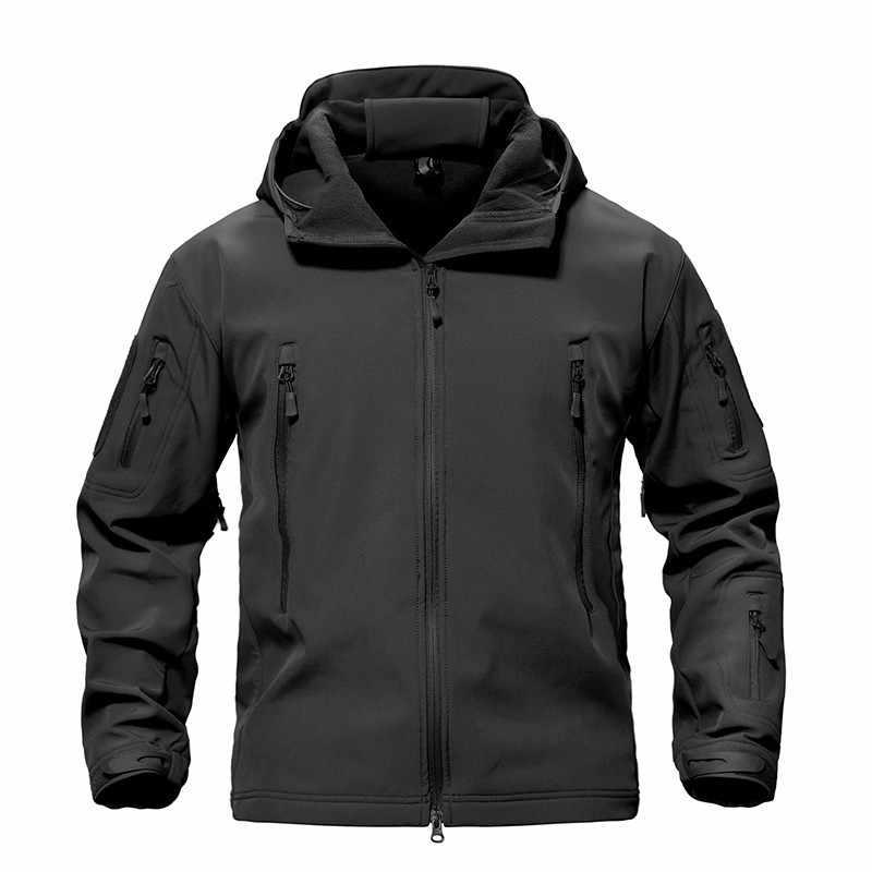 屋外のキャンプ迷彩軍事戦術ジャケット冬ハイキング防水防風ソフト付き暖かいコートウインドブレーカー